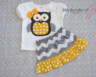 Gray and Yellow Chevron Skirt with Matching Owl Shirt
