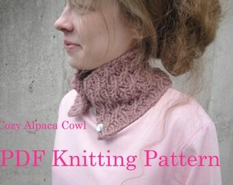 Cozy Alpaca Cowl - PDF Knitting Pattern - Knit Cowl Scarf Scarflette Neck Warmer, Chunky Bulky Yarn
