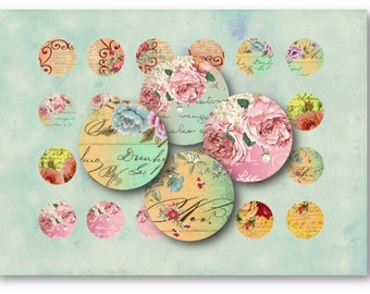 Digital Collage Sheet Download - Shabby Chic Roses 1 inch Circles -  624   for Jewelry Pendants - Instant Download Printables