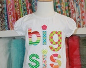 Big Sis short sleeve white or pink shirt - Ready to ship - 24 months
