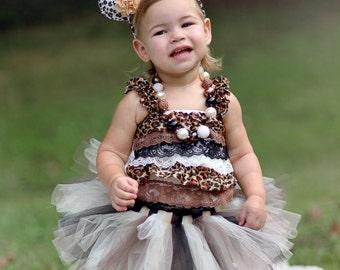 "Leopard Halloween Costume - ""Tutu Cute"" Leopard Costume - Girl Toddler Baby Infant Newborn Halloween Costume"