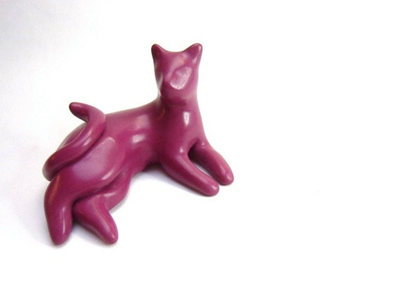 Cranberry -Little lounging cat sculpture decoration hand made OOAK