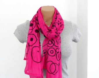 Pink Scarf, Geometric Scarf, Womens Scarves, Summer Scarf