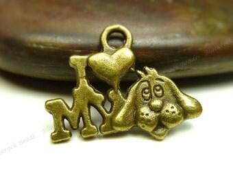 10 I Love My Dog Charms Antique Bronze Tone Metal - 13x18mm - Dog Pendants, Jewelry Supplies - BM6