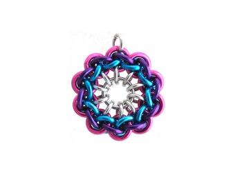 Chain Maille Pendant, Multicolor Pendant, Jump Ring Jewelry, Jens Pind Pendant, Chain Mail Jewelry