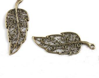 4 Leaf Charms Antique Bronze Tone 40 x 15 mm - bz202