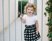 High Waisted Toddler Skirt in Black and White Dots // Baby Skirt // Toddler Skirt // Girl Skirt // 12m, 18m, 2t, 3t, 4t, 5-8 yrs.