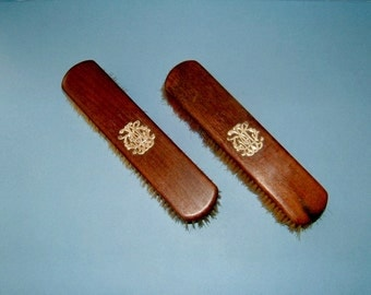 Two Edwardian Clothes Brushes with Sterling Silver Monograms Original Antique Brush
