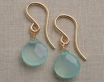 Aqua Blue Earrings, Blue Chalcedony Earrings, Summer Earrings, Gemstone Drop Earrings