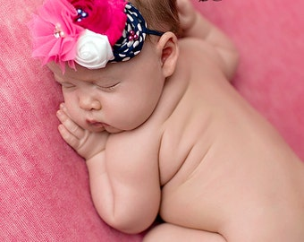 Navy, Hot Pink and White headband, baby headbands, navy headbands, newborn headbands, hot pink headbands, photography prop