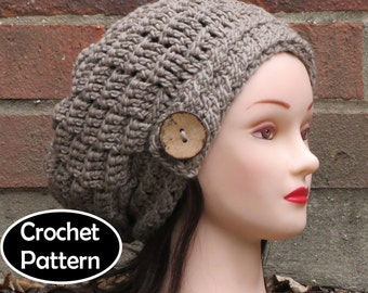 CROCHET HAT PATTERN Instant Download Pdf - Erin Slouchy Beanie Basketweave Button Hat Womens Teens - Permission to Sell English Only