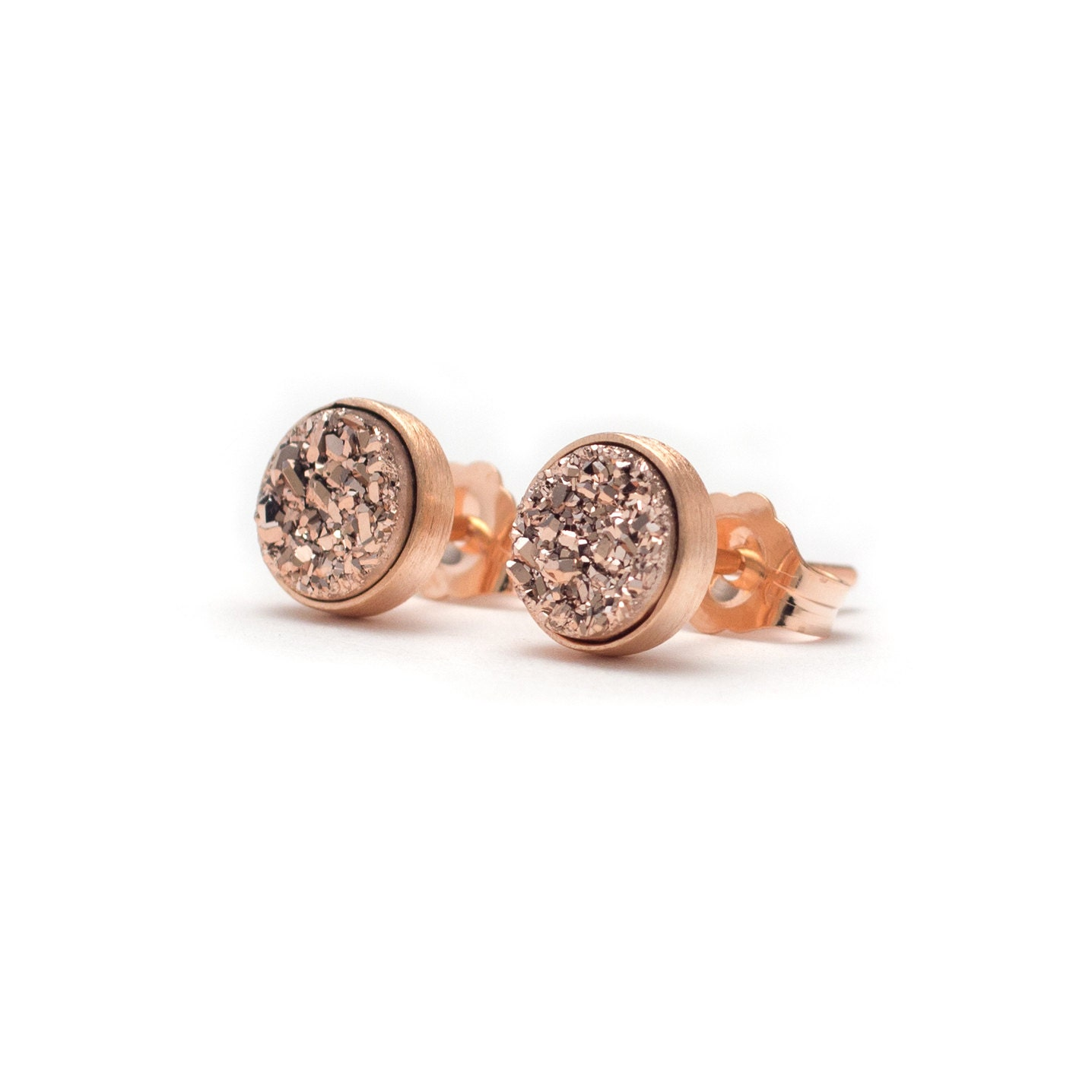 Rose Gold in Rose Gold Stud Earrings Druzy / Drusy Quartz