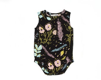 Desert Floral Sleeveless Onesie in Blue Mint, Yellow Ochre and Pink on Black