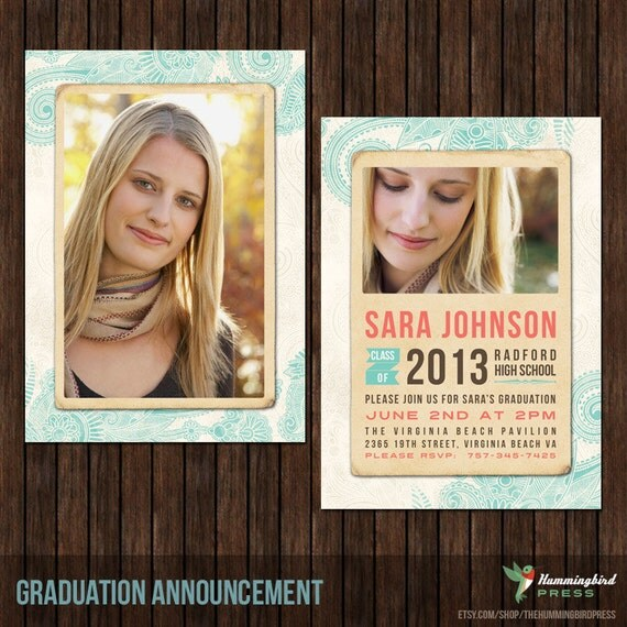 Instant Download - 5x7 Senior Graduation Announcement Card PSD Template - G1