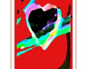 Wild Heart Valentine Card, Modern Art,  Digital Art Card, Available in Red/Black, Red Textured & Periwinkle/Black.