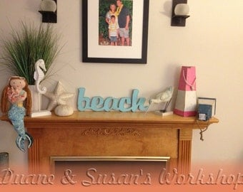 beach Sign, DIY wedding decoration, Wall hanging, cottage, wooden letters, wooden sign, home decor, Housewares, Wall Decor