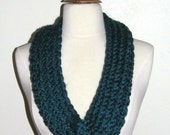 Chunky and Colorful Knitted Loops and Threads Cozy Wool Dark Teal Blue Infinity Cowl Scarf