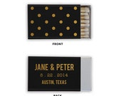 Matchbox Wedding Favors Polka Dot Matches - Custom Foil Stamped Personalized Matchboxes Rehearsal Dinner Bridal Shower Many Colors