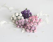 50 pcs - Shades of lilac paper rose / 1cm roses / mulberry paper roses