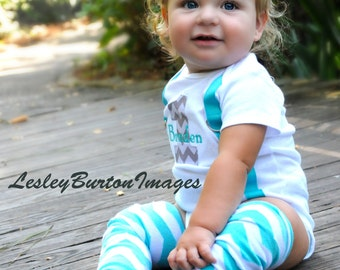 BOYS FIRST BIRTHDAY Outfit...Boys Birthday Bodysuit with Gray Chevron 1 and aqua suspenders with optional aqua and white chevron crawlers