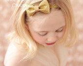Gold Glitter Bow Headband - Neutral Sparkle Hair Bow - Newborn Baby Hairbow - Little Girl Photo Prop - Christmas or New Years Day Hair Piece