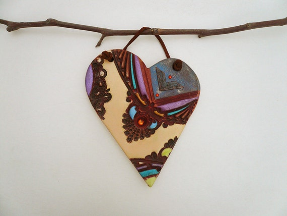 Hanging Heart Wall Decor : Ceramic heart wall hanging decor gift for a by