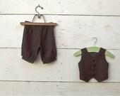 12-18 months Vintage Charcoal Grey w/ hint of tan color,  boys vest and pants set