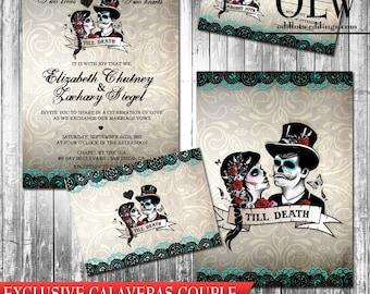 sugar skull invite | etsy, Wedding invitations