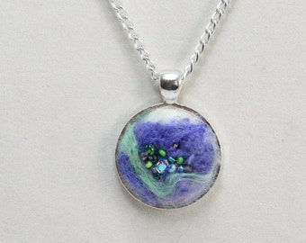 Felted Pendant necklace, Fiber and beaded, purple and lime