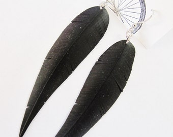 Bicycle Innertube Feather Earrings - Recycled Jewelry - Eco Friendly - handmade - black - bike