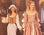 McCall's Renaissance Costume Gown Bar Maid Queen Peasant Blouse Laced Bodice Corset Full Skirt Apron Sizes 12 to 16