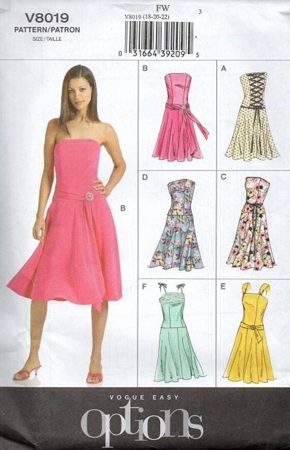 Vogue Sewing Pattern Corset Dress Sleeveless Strapless Dress