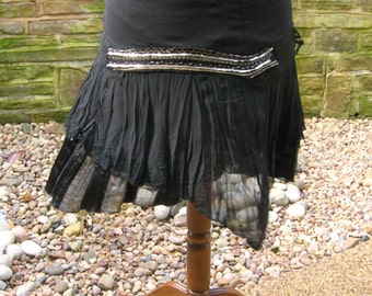 SALE Black satin, lace layer skirt. Women's festival, pixie faery tribal belly dance clothing. Altered Couture repurposed Goth costume