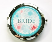 Flower compact mirror, Personalized, you select color, Bride mirror, bridesmaid gift, customizable, compact mirror, wedding party (2894)