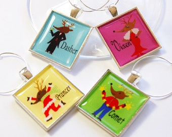 Christmas Wine Charms, Wine Charms, barware, barware, entertaining, reindeer, comet, vixen, prancer, dasher, funny wine charms (2765)