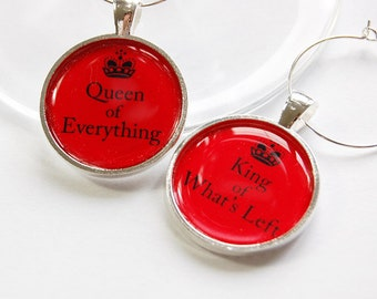 Wine Charms, Funny Wine Charms, barware, table setting, silver plate, Queen of Everything, King of What's Left, humor, red (2891)