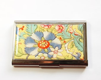 Flower card case, Floral case, Business Card Case, Card case, business card holder, Yellow Floral case, Yellow card case (3195)