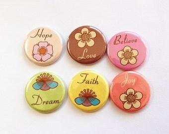 Inspirational Magnets, Button magnets, Magnet, Kitchen Magnet, Hope, Love, Believe, Dream, Truth, Joy, Stocking Stuffer (3299)