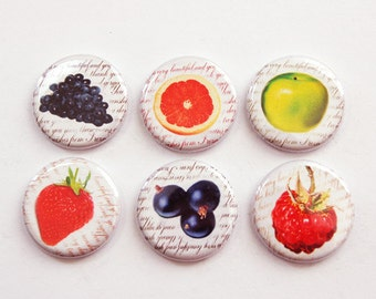 Fruit Magnets, Magnets, button magnets, Kitchen Magnets, Food Magnets, magnet set, Fruit, apple, orange, strawberry, stocking stuffer (3340)