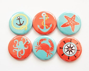 Magnet set, Nautical Magnets, Magnets, Fridge Magnets, button magnet, Kitchen Magnets, Anchor, Starfish, Crab, Octopus,Kellys Magnets (3763)