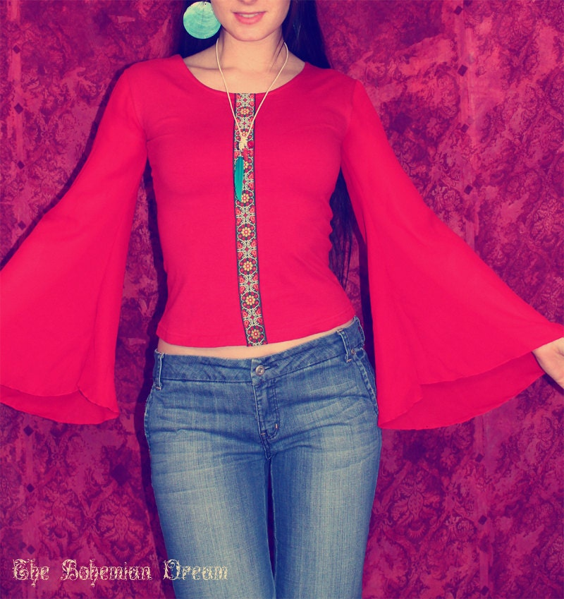 bohemian hippie top bell sleeve see through sleeves shirt one