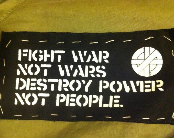 CRASS, Fight War, Not Wars  - Punk Patch