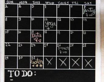 Chalkboard Calendar -- Large Monthly Planner -- Rewritable, Erasable Blackboard Organizer Chalk Board with Jute Rope