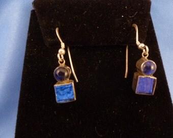 Sterling silver Colbalt Blue pierced Earrings