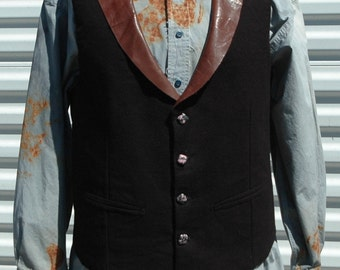 L Mens Steampunk Vest Leather Collar The Illustrated Man