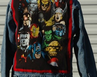 M Comic Book Super Heroes Trucker Jacket Marvel- ous