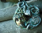Medusa Polymer Clay Pendant Necklace