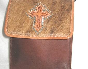 Montana Silversmith Leather and Fur Cross Bag Vintage Purse