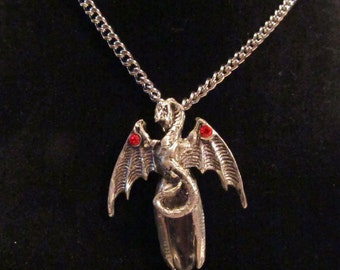Pewter Dragon Pendant with Red Crystals and Genuine Polished Quartz Point