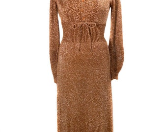 vintage 1970s copper lurex maxi dress / Wenjilli / metallic shimmer bronze / holiday dress / women's vintage dress / size 11/12